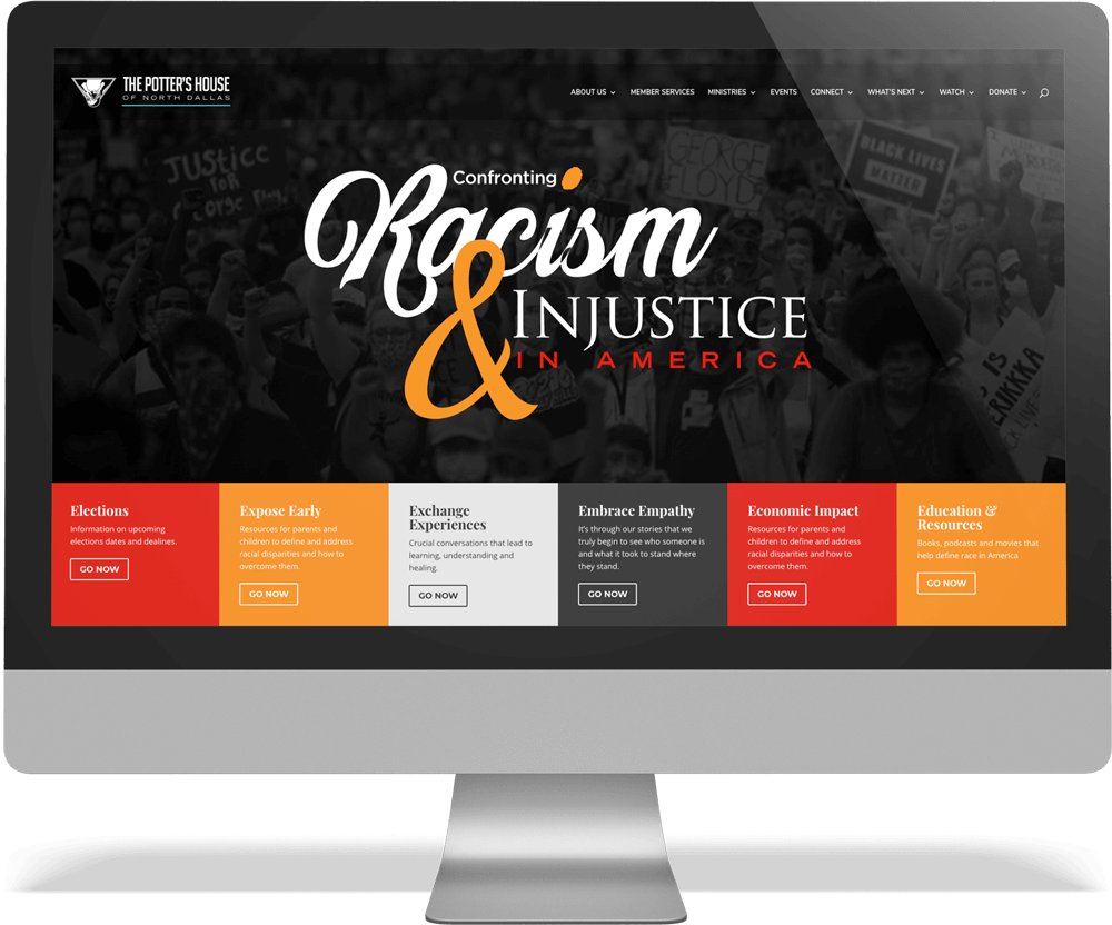 Confronting Racism and Injustice Microsite within iMac frame